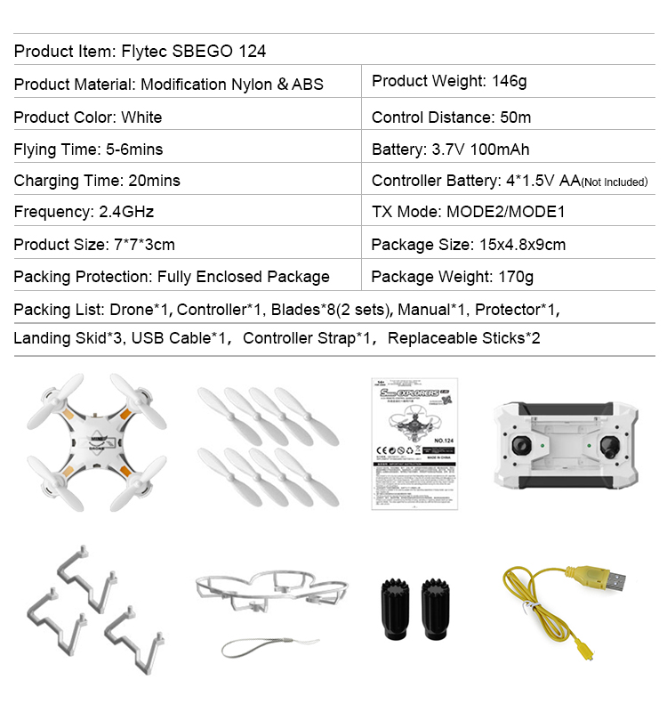 Flytec SBEGO 124 Mini Drones Toys Pocket Drone All In One Drone Quadcopter Black
