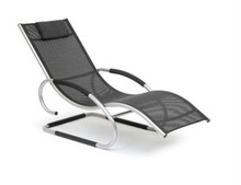 Aluminum Garden Lazy Lounge Rocking Beach Chair With Pillow