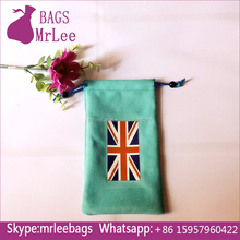 Custom design green drawstring gift pouches velvet digital voice recorder bags