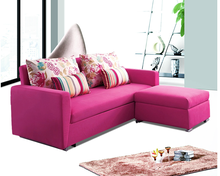 Modern Pink Color Fabric Heated Sofa Bed With Drawer Metal Sofa Legs
