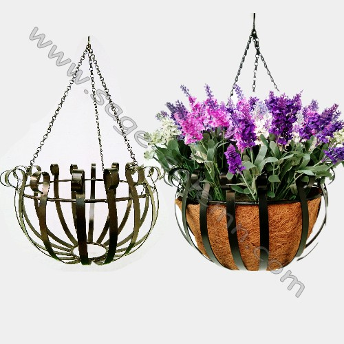 Wire Hanging Flower Basket With Coo Mat