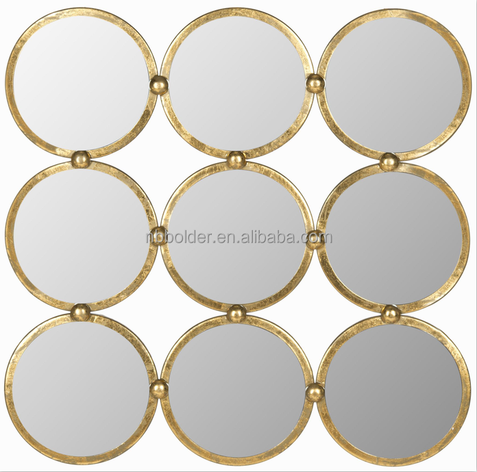 Wholesale gold brass brushed metal frame 9 small round circle wall mirror for home decoration furniture