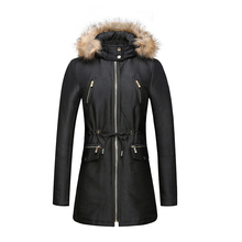 Wholesale Fur Collar Women's 100% Polyster Long Winter Padded Jacket