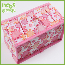 Best selling products household pink flower non woven storage box