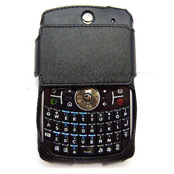 Energy Leaf 2320 Open-Face Black Leather Case with Cover for Motorola Q9h Global