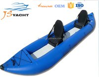 PVC blue folding inflatable cheap fishing sea kayak river lake rubber canoe customized pvc boat for sale