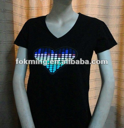 el sound active flashing t-shirt
