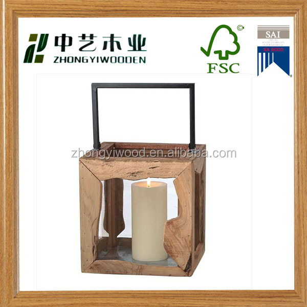 2016 Hot sale natural rustic home decoration garden wooden lantern party wooden candle lantern