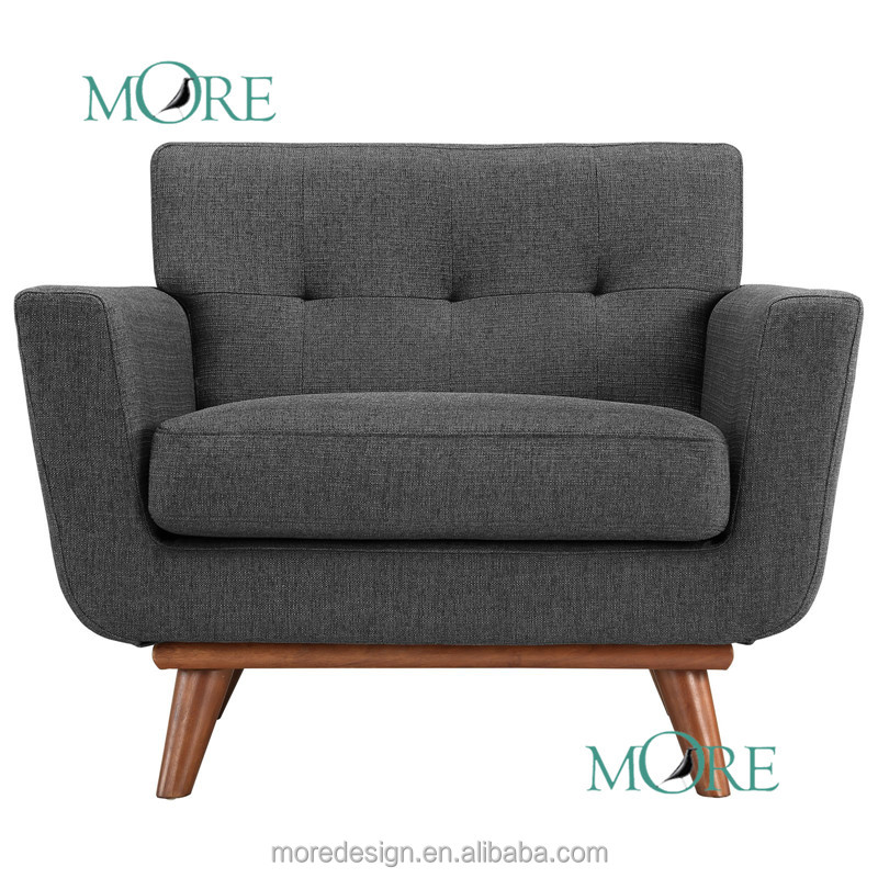 Mid-Century Modern Classic Chair with Urban Storm Tailored Twill armchair fabric sofa