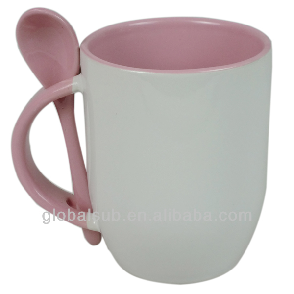 ceramic coffee mug with spoon/11oz Red Inner Color Sublimation Spoon Mug
