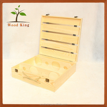 2017 Hot Hollow Out Log Tile Six Bottles Creative Fine Solid Wood Packing Box Customized Processing Wholesale Custom Wooden Box