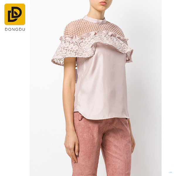 The latest fashion design pink lace insert blouse for women