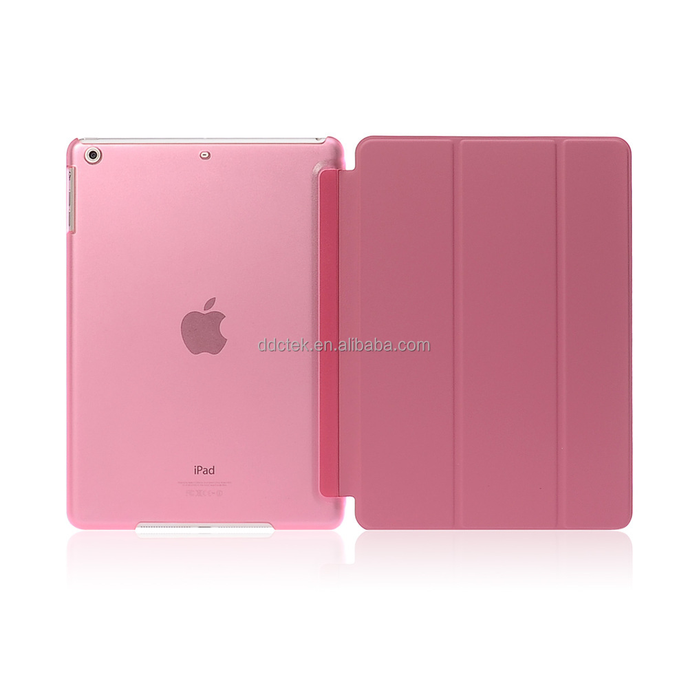 New arrival matte PC base PU leather cover for ipad air 2 case with stand vision Pink custom