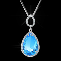 Wholesale fashion beautiful lover large blue crystal teardrop shaped pendant necklace