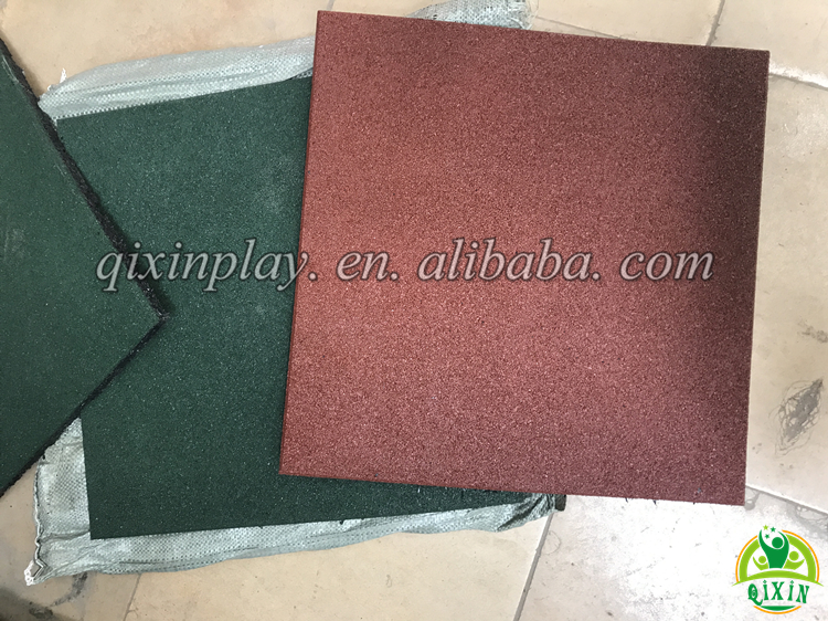 Cheap Red And Green Color Outdoor Rubber Tiles Rubber Tile Flooring