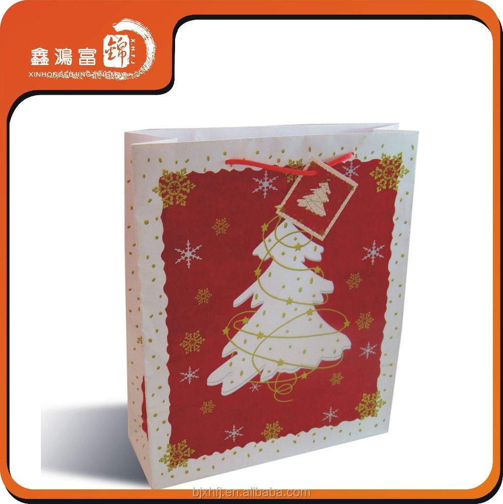 custom cheap price christmas tree logo paper bag