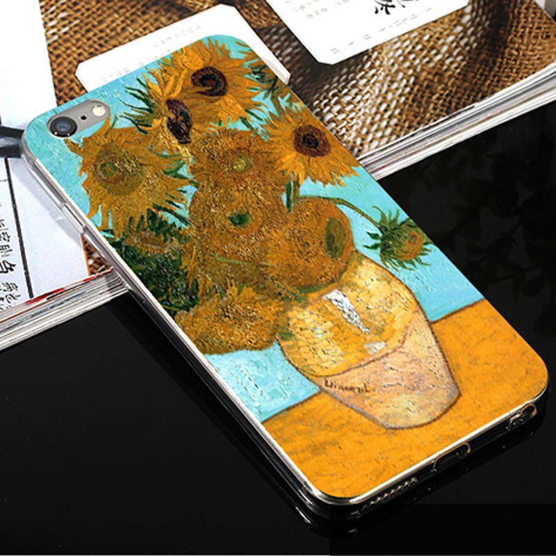 custom personalnized mobile phone case for iphone 7 7 plus case tpu soft print phone case Van Gogh Painting