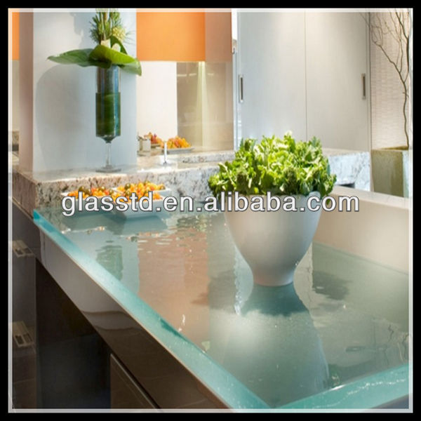 40mm unique glass top marble base dining table