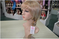 High quality pretty efficent Golden hair gay wigs Synthetic remy cheap price accept paypal factory wholesale