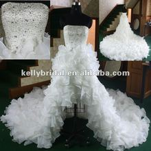 Luxury Front short back long organza wedding gown