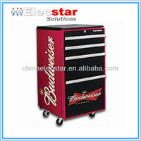 Budweiser Moveable toolbox fridge/ retro refrigerator/ Safe fridge/beverage cooler, with 4 wheels and lock