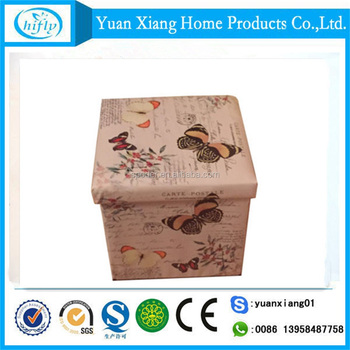 Hot sale printing seat box foldable storage ottoman with lid