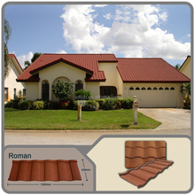 Non-toxic Adhesive Natural Stone coated Aluminum-Zinc Steel roof tile metal roofing