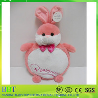 Cute pink plush animal toy for babies, stuffed rabbit cushion