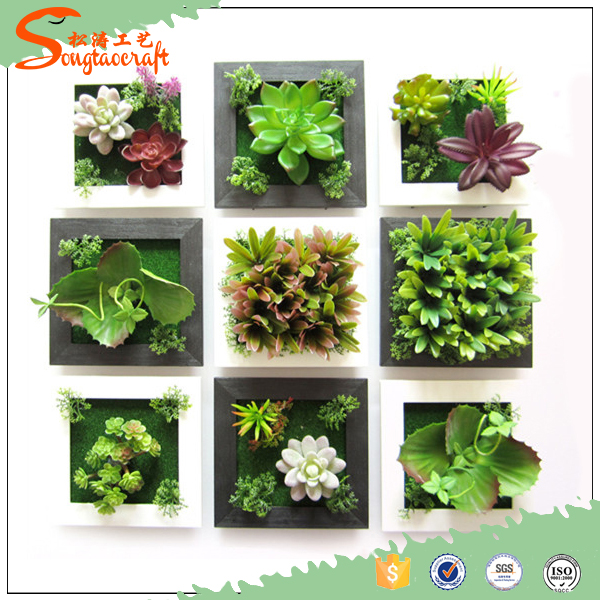 2016 Latest design decoration artificial plant grass wall /artificial mini succulent plant; hanging wall decoration