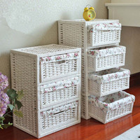 PURE HAND - MADE WICKER STORAGE CABINET WITH WOODEN DRAWER