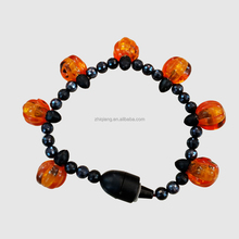 Hot sellings led flashing halloween pumpkin 3 red lights beads magnetic bracelet for party favor