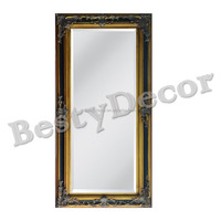 wood material decor mirror frame painted gold leaf