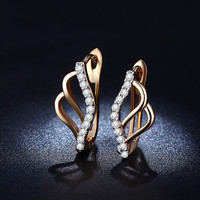 E023 Factory High quality Real 18K Rose gold Double plated Studs earrings for women AAA Zircon Imitate Diamond Huggie earrings