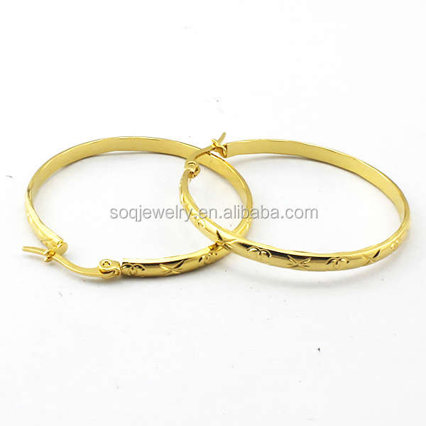 SSE270009 Punk Style 316I 18K Gold Plated Stainless Steel Wholesale Women Earrings for Wedding Jewelry