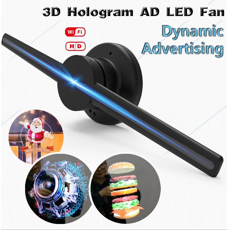 "Upgraded 42cm/16.54"" Wifi 3D Holographic display Projector Hologram Player Dynamic LED Display Fan <strong>Advertising</strong> - EU plug"