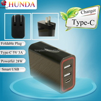 Foldable Plug Socket Type C dual Port USB wall charger adapter 5V 3A for apple