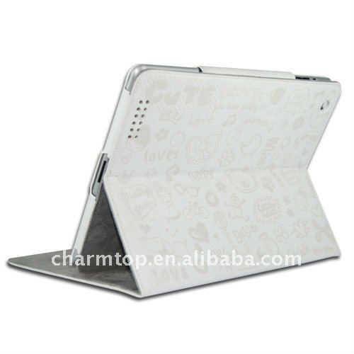 White Pretty Cute Leather Case for iPad 2