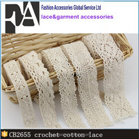 High Quality Cotton Lace Trim/Lace Fabric Ivory Crocheted Lace for Garment Decoration CB2655
