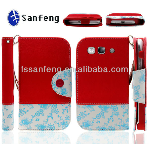 Best fashional pu leather flip cover for samsung galaxy s3 i9300/beautiful flower mixing color kickstand case for samsung s3