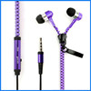 Colorful 3.5mm in-ear stereo zipper zip wired earphone earbuds with microphone accept custom logo
