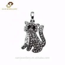 Cute Little Cat Sterling 925 Silver Clay Rhinestone Women's Animal Charm <strong>Pendant</strong> Necklace Jewelry