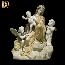 Hand carved mixed marble mother mary statues for sale
