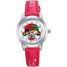 Factory Directly Seling Colorful PU Quartz Kids Plastic Kid Watch