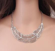 European New Design Statement Jewelries Women's Hollow Big Leaf Bronze Anti-silver Color Pendant Bib Clavicle Necklaces