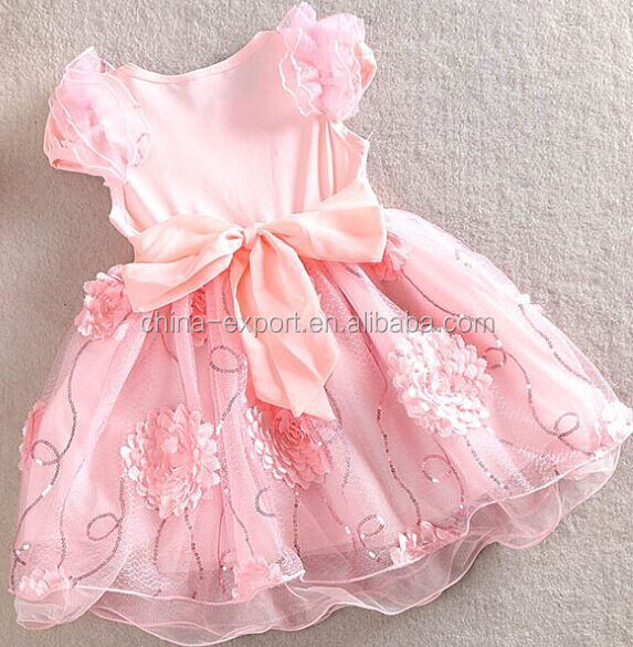1503 2015 wholesale south Korea fashion summer new hand cut flowers sleeveless sequins sweet princess girl dress with pearl
