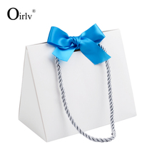Oirlv custom printing logo foldable shopping packing bags for jewellery watch cloth cosmetic gift packaging paper jewelry bag