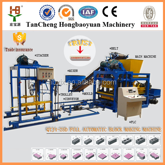 QT4-25 Automatically block making machines dubai/cement brick making machine price