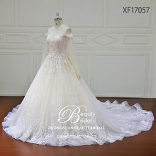 2018 newest off shoulder design ball gown wedding dress with champagne color bridal gown