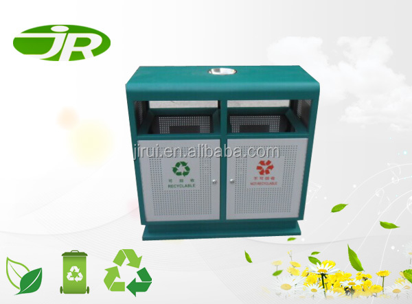 outdoor double layer steel dust bin