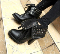 D84676H 2014 rivet motocross boots ,high heel ankle boots for women